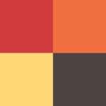 Rojo, naranjo, amarillo y moca
