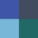 Celeste, azul rey, azul marino y petróleo